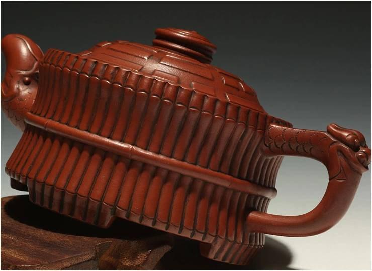 Bamboo And Dragon Teapot Chinese Gongfu Teapot Yixing Pottery Handmade Zisha Teapot Guaranteed 100%Genuine Original Mineral Fired