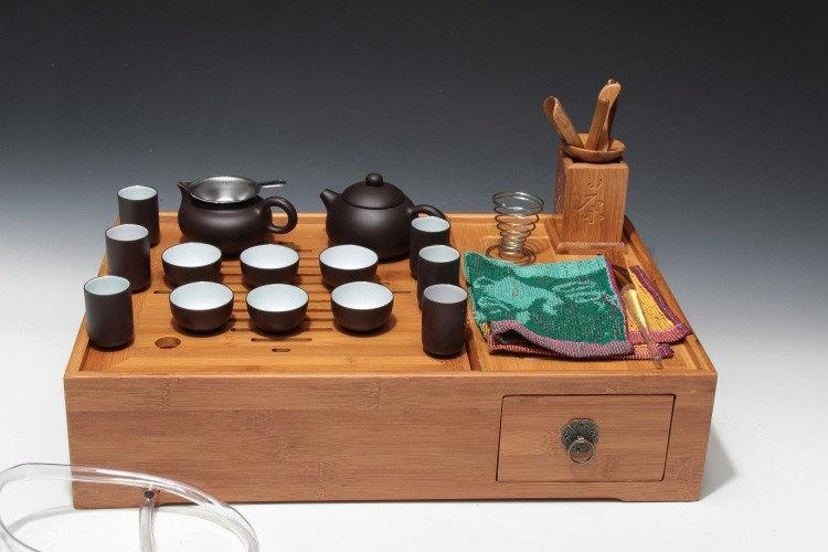 A Complete Set Of Portable Zisha Clay Tea Wares Chinese Gongfu Teapot Yixing Pottery Handmade Zisha Clay Teapot