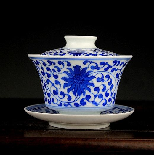 2 Hand-Painting And Handmade Blue And White Porcelain Imperial Style Gaiwan Chinese Style Ceramic Teaware
