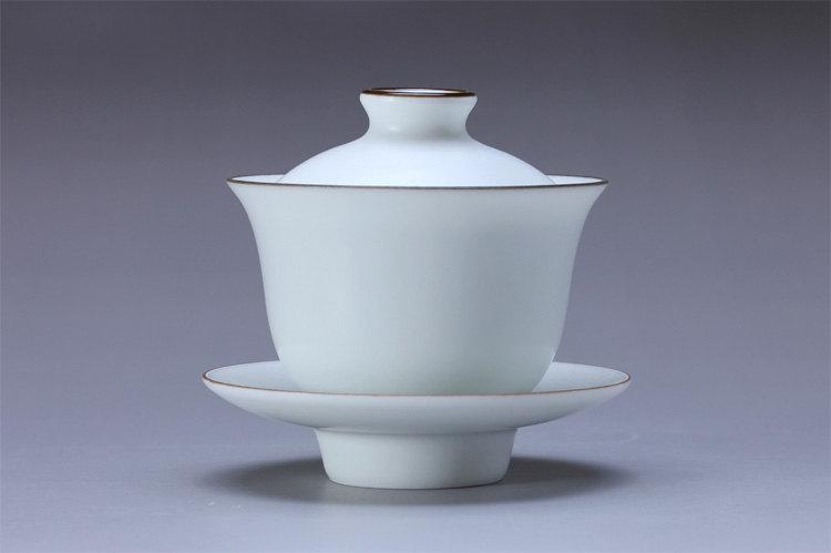 2 Handmade White Porcelain Gai Wan Chinese White Porcelain Porcelain Tea Set Chinese Style Ceramic Tea Set