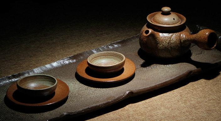 A Complete Set Of Handmade Crude Ceramic Tea Wares Handmade And Hand-Drawing Rude Ceramic Tea Set Brewing Pu-Erh Tea Tea Ware