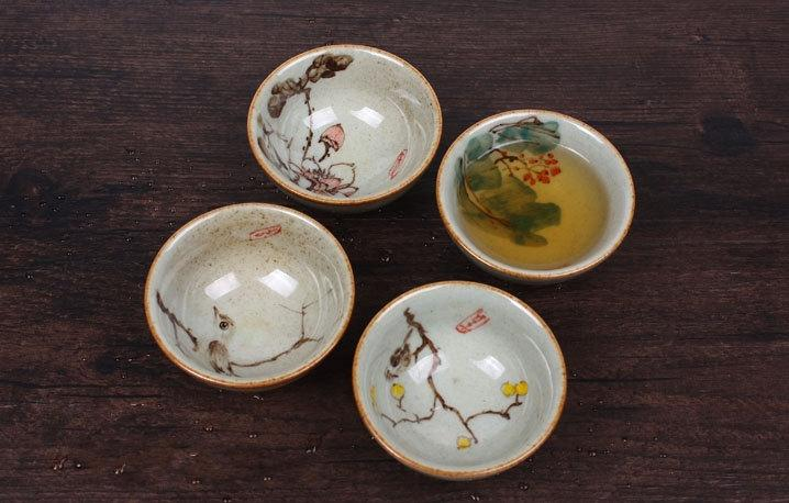 4 Handmade Crude Ceramic Tea Cups Handmade And Hand-Drawing Rude Ceramic Tea Set