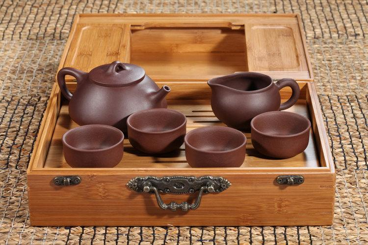 A Complete Set Of Portable Zisha Clay Tea Wares Premium And Treasure Tea Pot Yixing Pottery Handmade Zisha Clay Teapot
