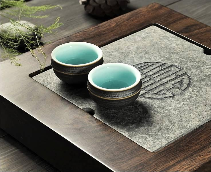 Black Stone Tea Tray Displaying And Serveing Tea Tea Tray Handicraft Chinese Congou Tea Set Chinese Teaism Practice.