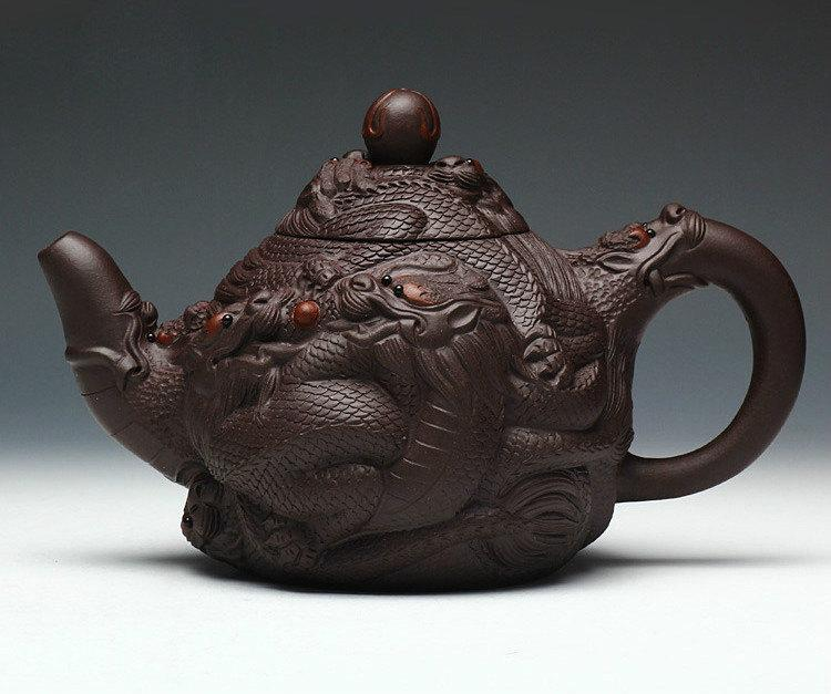 Jiu Long Xi Zhu Teapot Chinese Gongfu Teapot Yixing Pottery Handmade Zisha Teapot Guaranteed 100%Genuine Original Mineral Fired