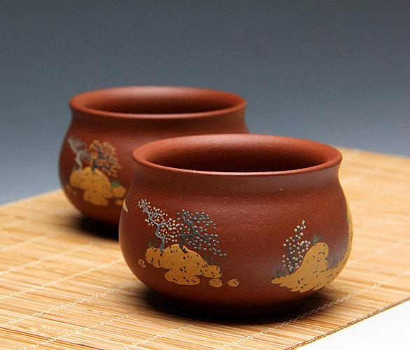 2 Hand-Made Zisha Clay Tea Cup Yixing Pottery Handmade Zisha Clay Teapot Guaranteed 100%Genuine Original Mineral Fired